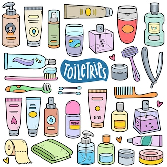 Toilettenartikel bunte vektorgrafikelemente und doodle-illustrationen