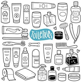 Toilettenartikel schwarz-weiß-doodle-illustration