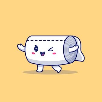 Toilettenpapier-cartoon-symbol-illustration. gesunder maskottchen-charakter. gesundheits- und medizinisches symbolkonzept isoliert