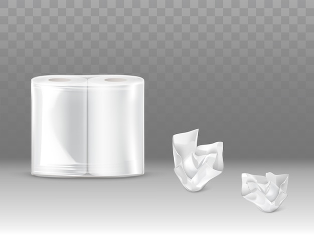 Toilettenpapier, küchenpapierhandtuchsatz 3d realistisch