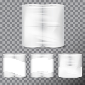 Toilettenpapierpaket modell mit transparenter verpackung.