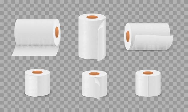 Toilettenpapierrolle für bad und toilette, weißes, weiches küchentuchset. hygiene haushaltsgegenstand für toiletten. nettes cartoon-seidenpapierset, rollbox, verwendung für toilette, küche. illustration.