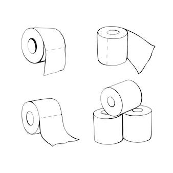 Toilettenpapierrollen im doodle-stil. handgezeichnetes toilettenpapier. abbildung isoliert auf weiß. ein satz toilettenpapier