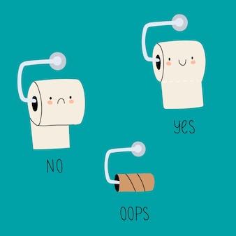 Toilettenpapierrollen mit gesichtern set sammlung von cartoon-toilettenpapierrollen