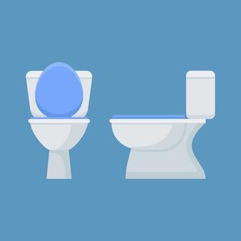 Toilettenschüssel im flachen stil. vorder- und seitenansicht.