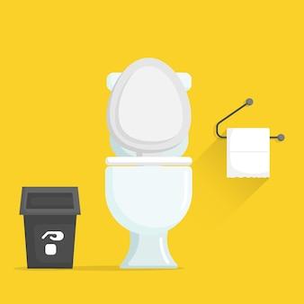 Toilettenschüssel mit müll- und toilettenpapiervektorillustration