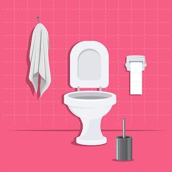 Toilettenschüssel, papier, bürste und hängendes tuch flach eingestellt.