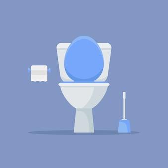 Toilettenschüssel, papier und bürste im flachen stil.