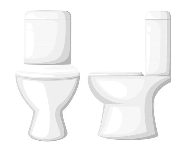 Toilettenschüssel, papier und pinsel auf blauem hintergrund. stilillustration. flache karikaturikone der toilettenschüssel, vorder- und seitenansicht. website-seite und mobile app