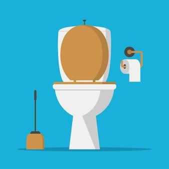 Toilettenschüssel, toilettenpapier und toilettenbürste. vektor-illustration.