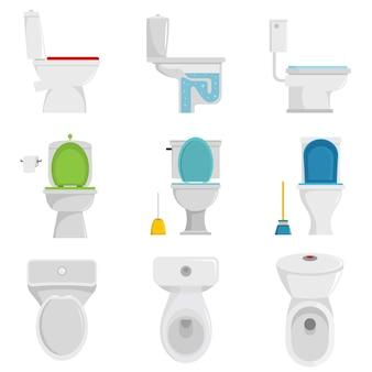 Toilettenschüsselikonen eingestellter vektor lokalisiert
