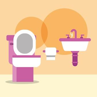 Toilettenschüsselwaschbecken und papierkarikaturbadezimmer