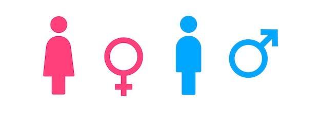 Toilettensymbol. männliches und weibliches badezimmerzeichen. vektor-eps 10. getrennt auf weißem hintergrund.