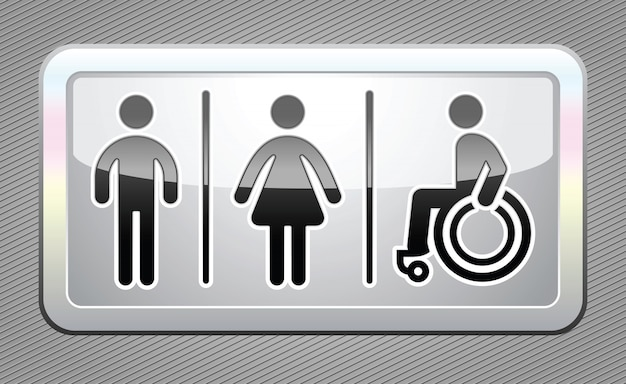 Toilettensymbole, große graue taste