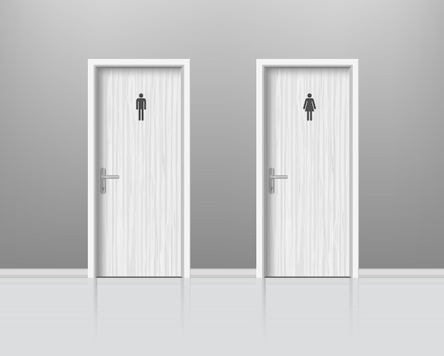 Toilettentüren für männliche und weibliche geschlechter. woden tür für mann und frau waschraum, wc realistische komposition. .