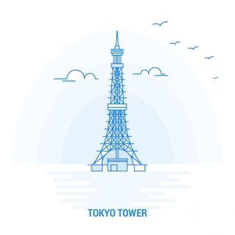 Tokyo tower blauer markstein