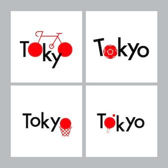 Tokyo typografie design sportkonzept. symbol für sportgeräte. farbe japan-flagge.