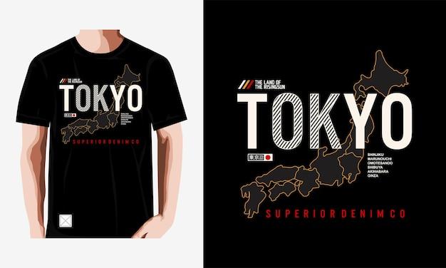 Tokyo typografie t-shirt design premium vektor premium-vektor