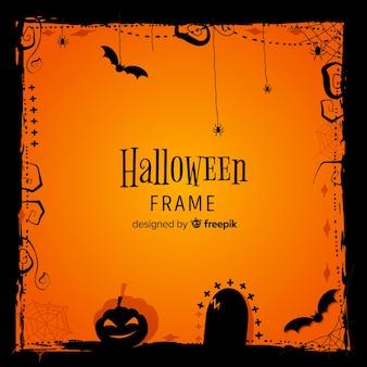 Toller halloween-rahmen mit flachem design