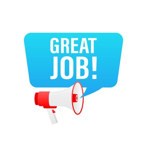 Toller job megaphon banner im 3d-stil auf weiß