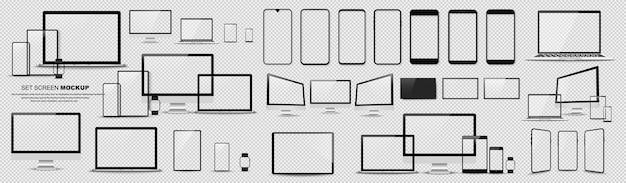 Tolles minimalistisches geräteset. mockups smartphone, tablet, laptop, pc und fernseher. vektorsammlung