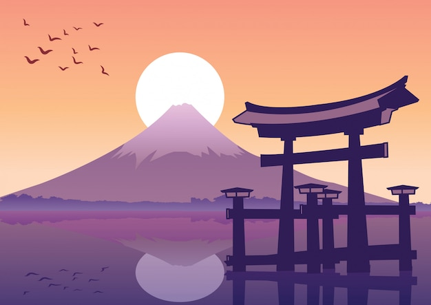 Tolles schwimmendes tor und fuji-berg