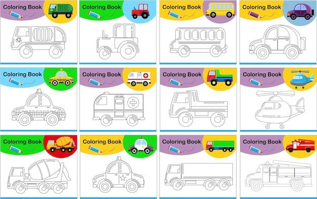 Tolles set zum färben von autos für kinder. karikaturstil lokalisiert auf einem weiß