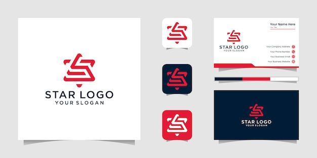 Tolles stern-logo und visitenkarten-design