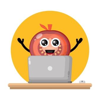 Tomate laptop süßes charakterlogo