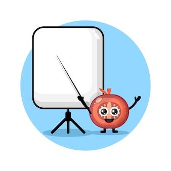 Tomate wird zu einem niedlichen charakterlogo des lehrers