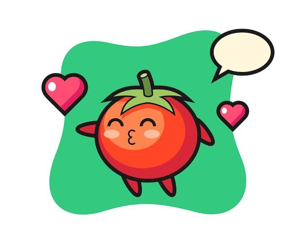 Tomaten-charakter-cartoon mit küssender geste, süßem stildesign für t-shirt, aufkleber, logo-element