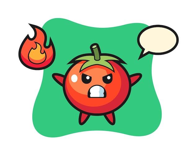 Tomaten-charakter-cartoon mit wütender geste, süßem stildesign für t-shirt, aufkleber, logo-element