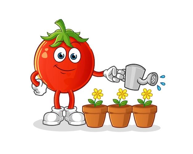 Tomaten, die das blumenmaskottchen gießen