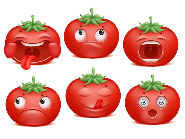 Tomaten emoji cartoon zeichensatz. verschiedene emotionen. glück, lecker, traurigkeit, schock schreien