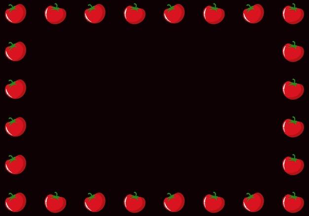 Tomaten-grenzhintergrund. vektor-illustration. abstrakter hintergrund.