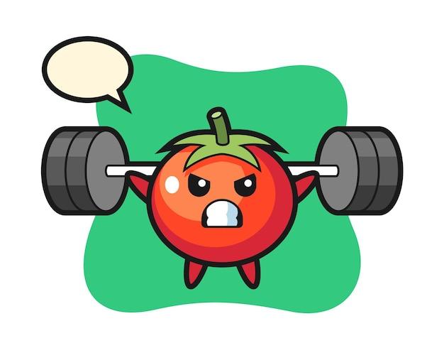 Tomaten-maskottchen-cartoon mit langhantel, süßes design für t-shirt, aufkleber, logo-element