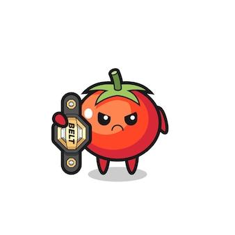 Tomaten-maskottchen-charakter als mma-kämpfer mit dem champion-gürtel, süßem stildesign für t-shirt, aufkleber, logo-element