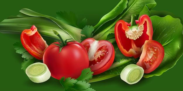 Tomaten, paprika, zwiebeln und salat