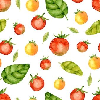 Tomaten- und basilikum-aquarell nahtloses muster
