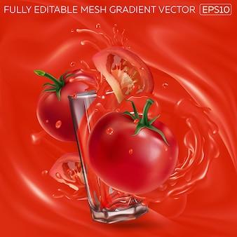 Tomaten und ein glas gemüsesaft auf einem hintergrund von tomatensaft.
