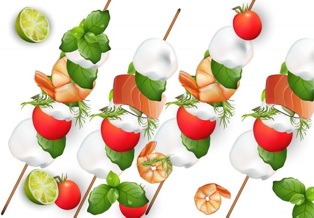 Tomaten und mozzarellasnack haftet realistischer vektor. gesundes essen für menü, druck, aufkleber, flyer