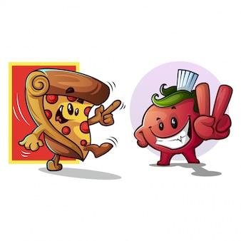 Tomaten und pizza cartoon / maskottchen