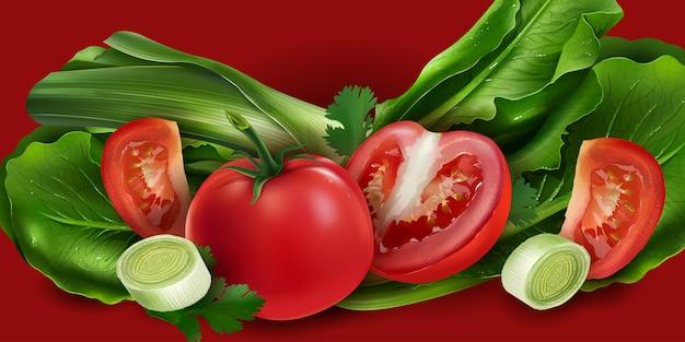 Tomaten, zwiebeln und salat