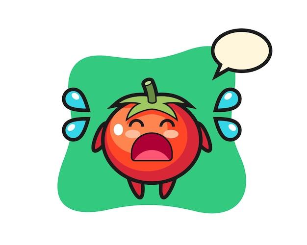 Tomatenkarikaturillustration mit weinender geste, niedlichem stildesign für t-shirt, aufkleber, logoelement