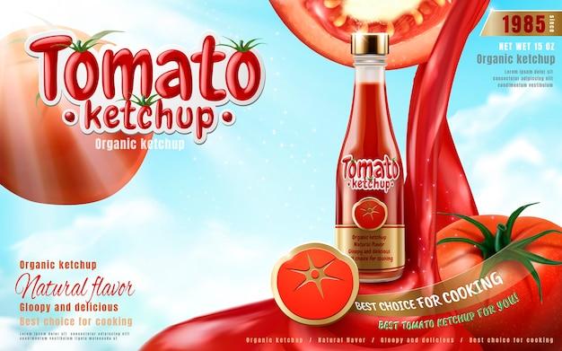 Tomatenketchup-anzeige mit sauce, die nach unten gießt