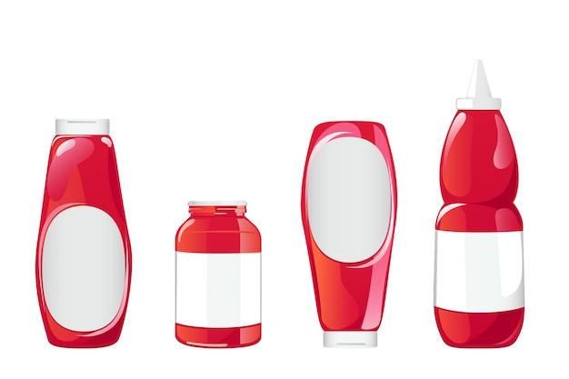 Tomatenketchup-flasche. rote saucenbehälter mit weißem etikett auf weißem hintergrund. vektor-illustration im flachen cartoon-stil.