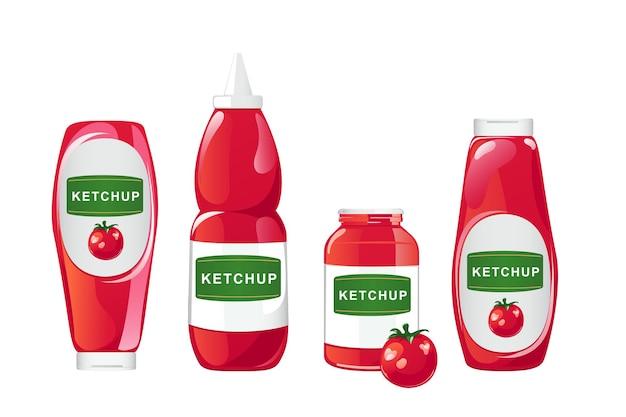 Tomatenketchup-flasche. roter soßenbehälter mit dem benannten weißen etikett lokalisiert auf whie hintergrund. vektor-illustration im flachen cartoon-stil.