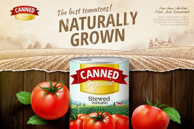 Tomatenkonserven-anzeigen mit frischem gemüse auf retro-graviertem feld in 3d-darstellung