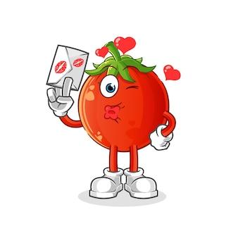 Tomatenmaskottchen halten liebesbriefillustration