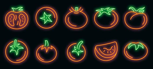 Tomatensymbole gesetzt. umrisse von tomatenvektorsymbolen neonfarbe auf schwarz